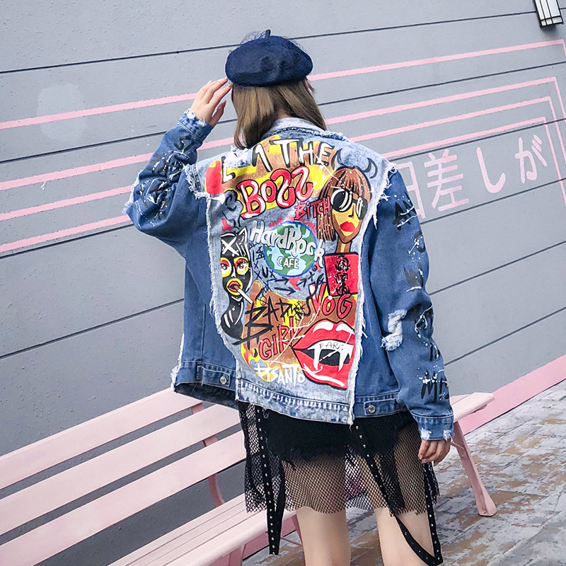 TREND Setter 2018 Autumn Abstract Pattern Letters Graffiti Denim Jacket Women Ripped Hole Jean Jacket female