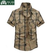 Brand Army Military Style Shirt Men 2018 Summer 100% Cotton Plaid Short Sleeve M