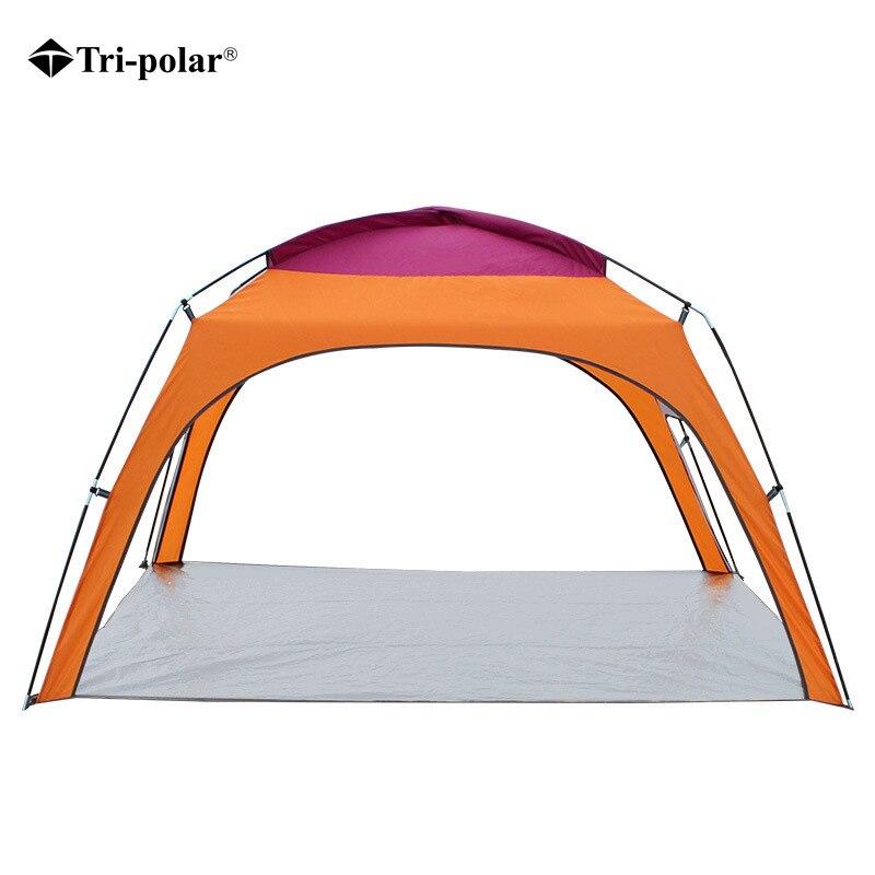 三極テント 4 人超軽量ビーチキャンプテント太陽の避難所大屋外折りたたみオーニング耐風テント抗 Uv  グループ上の スポーツ & エンターテイメント からの テント の中 1