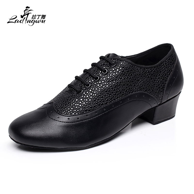 Ladingwu New Brand Modern Men's Ballroom Tango Waltz Latin Dance Shoes Microfiber Synthetic Leather Color Black/Brown/Red