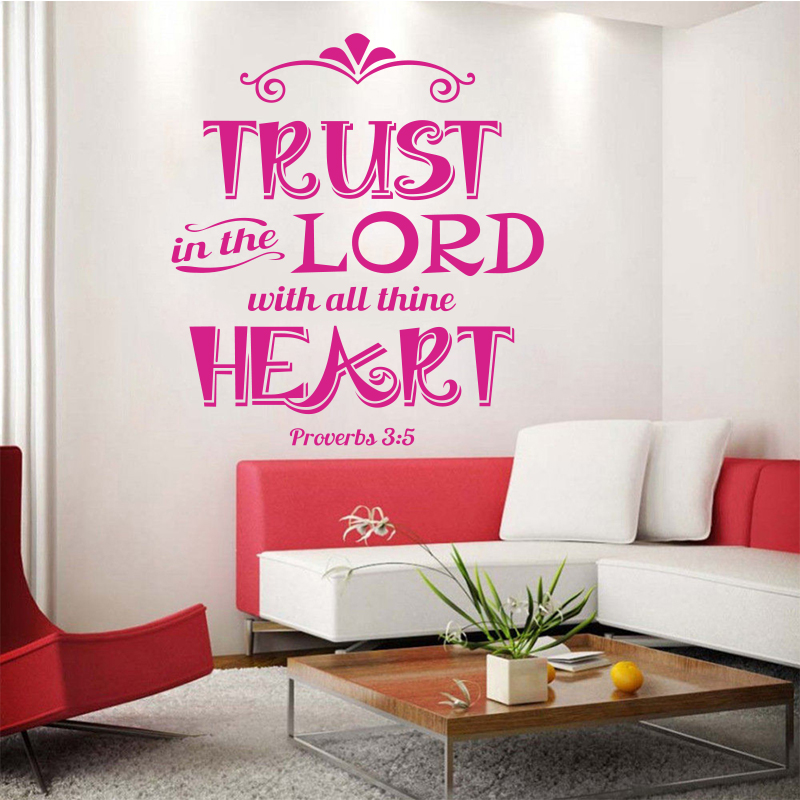 Stickers Christian Quote Trust In The Lord Vinyl Wall Decal Removable Art Wallpaper For Living