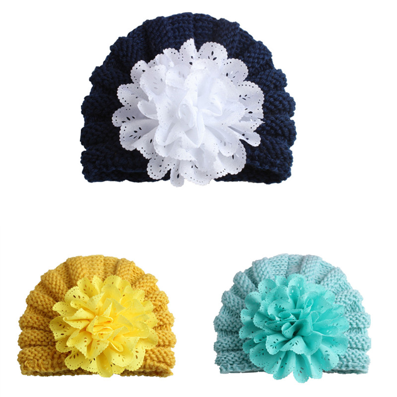 Newborn Baby Girls Hat Baby Photography Props Baby Winter Beanies with Flower Solid Infant Warm Cap Knitted Christmas Hats B0072