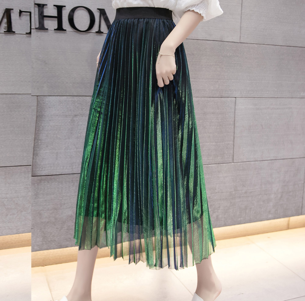 Image 4 - Women Summer Pleated Skirts 2019 Mesh Midi Saia High Waist Vintage Lace Lady Skirt Jupe Femme Falda Etek Mujer Gray Purple Green-in Skirts from Women's Clothing
