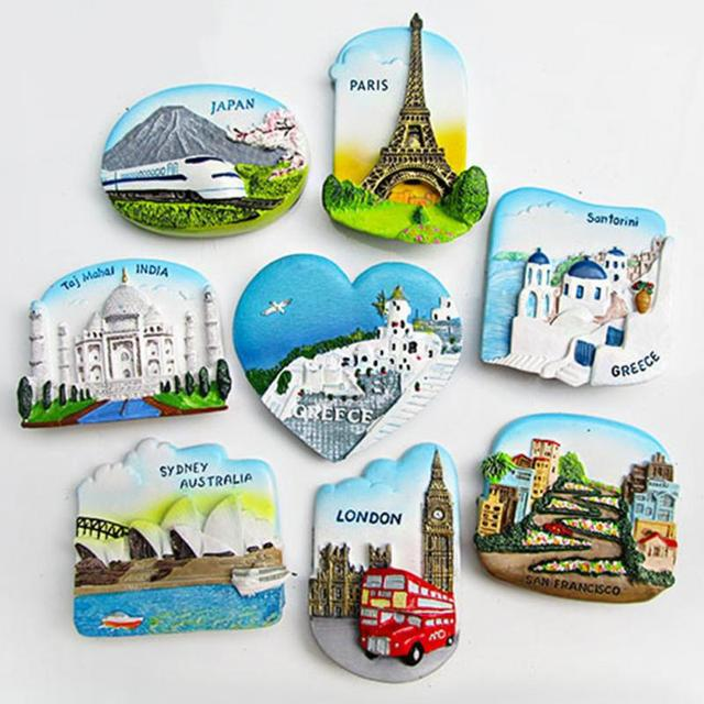 9 patterns Beauty Resin 3D Fridge Magnet Stick on refrigerator San Francisco London Paris Japan Greece Sydney Bali Souvenir