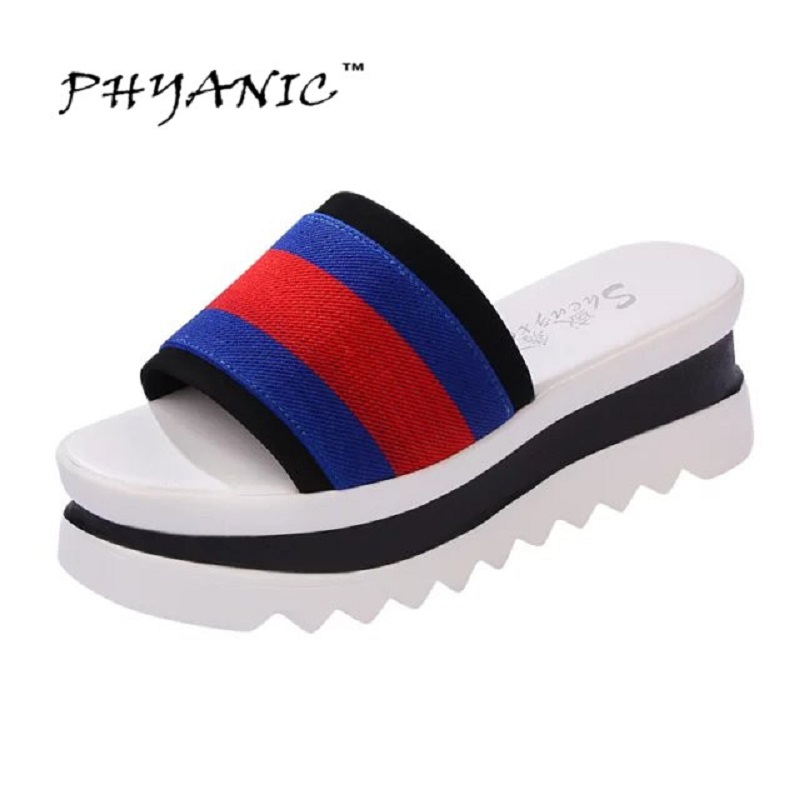 PHYANIC New 2017 Summer Stripe Sandals Slippers Women Platform Sandals Shoes Wedges Platform Shoes With Comfort Sole Wholesale phyanic 2017 summer new women sandals with chain women buckle strap flat platform summer casual shoes woman phy3413