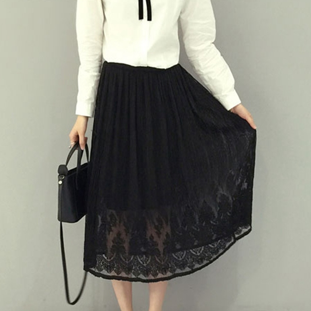 2017 New Solid Lace Skirt Casual Elastic High Waist Pleated Skirt 2 Colors  Plus Size Long d0685ef4e906