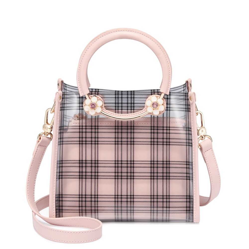 Brand Womens TPU handbags Female Transparent Beach Summer Handbags Ladies Fashion Plaid Jelly Tote PurseBrand Womens TPU handbags Female Transparent Beach Summer Handbags Ladies Fashion Plaid Jelly Tote Purse