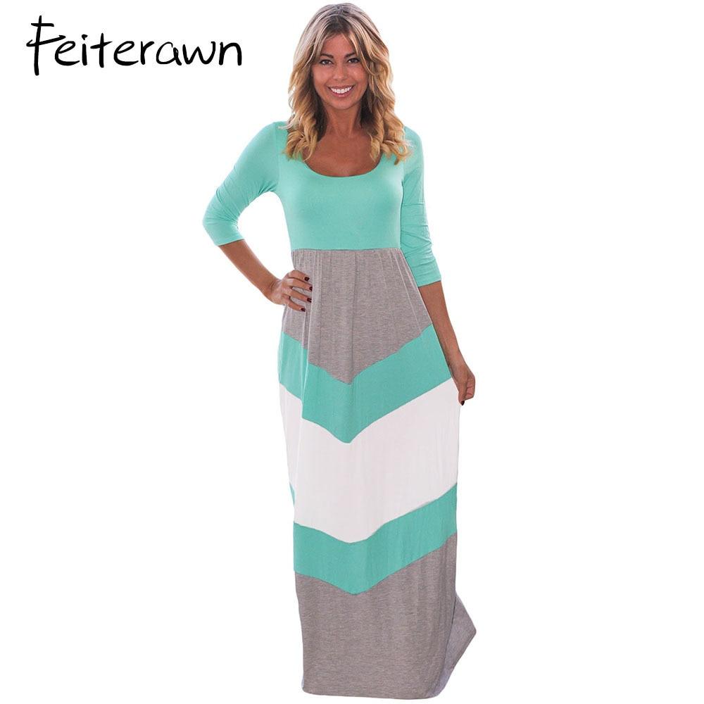 Feiterawn Women Casual Color Block Chevron Maxi Dress Patchwork ...