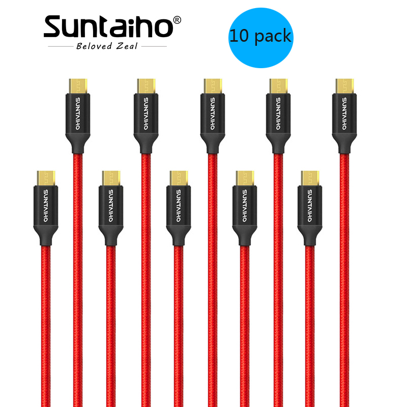 10-Pack Micro USB Cable Fast charging Data Cable,Suntaiho Nylon Braided Phone Charger For Samsung Xiaomi Mobile Phone Cables