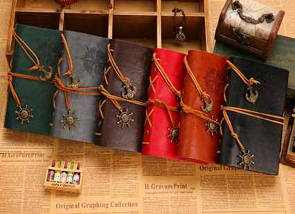Special editon for festival free shipping vintage leaf faux leather pirate cover travel journal 12 colors