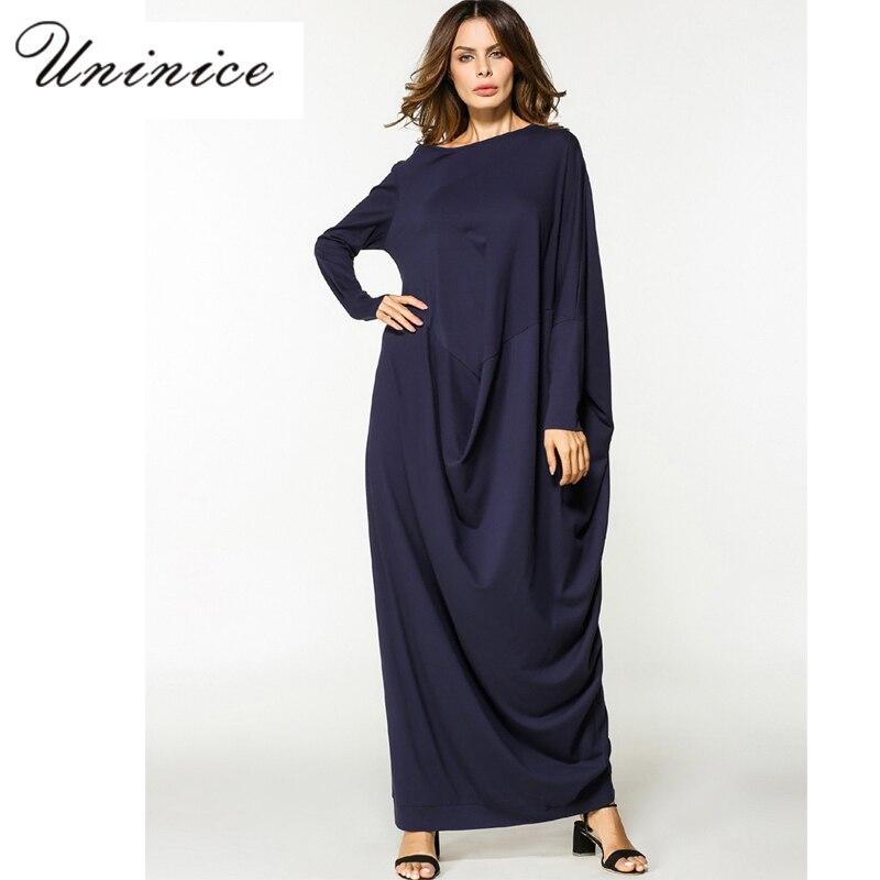 Muslim Abaya Maxi Dress Long Sleeve Cotton Robe Loose Style Islamic Clothing Middle East Sundress Arab