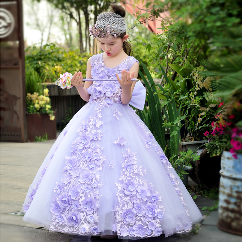Royal Ball Gown Big Bow Princess Dress Appliques Flower Girls Dresses Floor Length Children Wedding Party