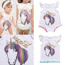 31b49a3a0d26 Magicl Unicorn Family Matching Big Sister T-shirt Tops Vest Newborn Baby  Girls Infant Romper