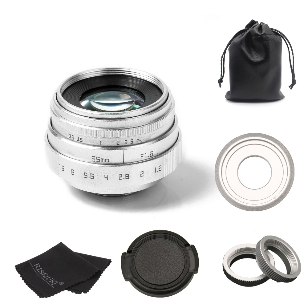 new arrive fujian 35mm f1.6 C mount camera CCTV Lens II for Sony NEX E-mount camera & Adapter bundle silver image