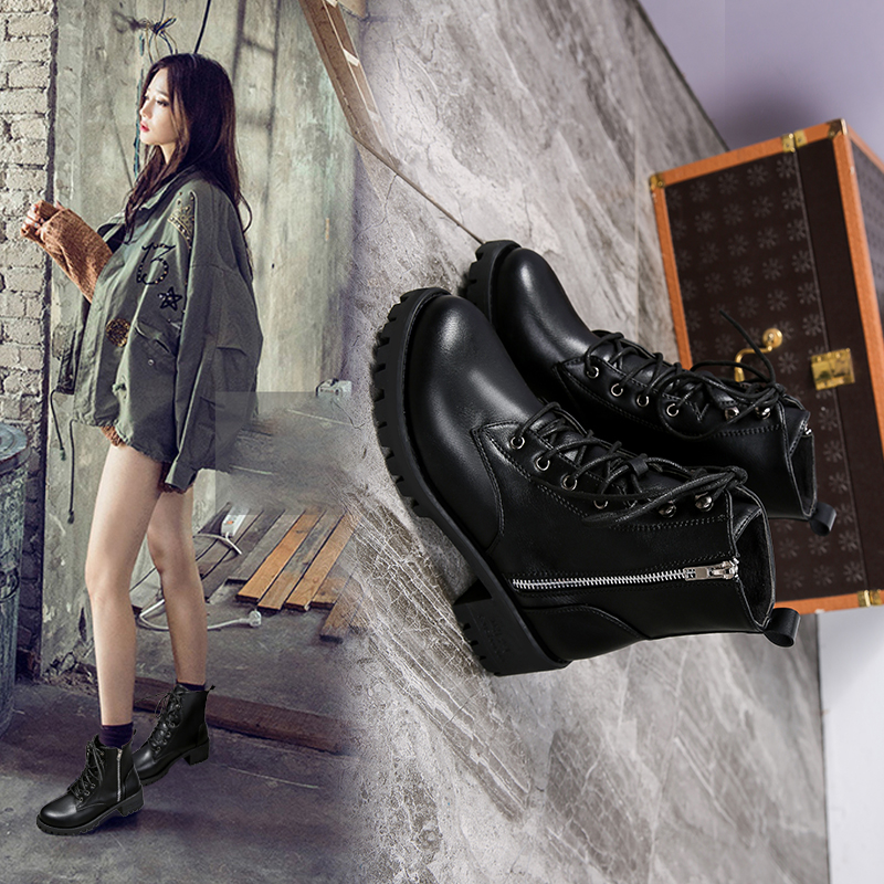 2018 new thick-bottomed short tube Chelsea ankle boots women.2018 new thick-bottomed short tube Chelsea ankle boots women.