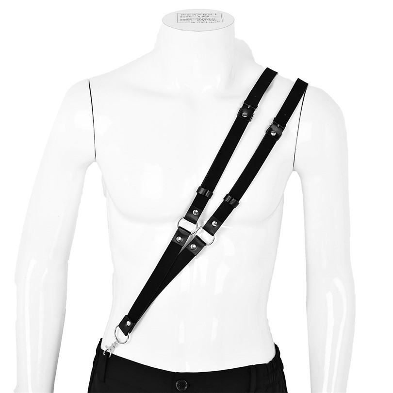 Newest Sexy Male Men Lingerie Double Straps Single-Shoulder Braces Harness Belt Buckles Tights Zentai with Buckles and O Ring