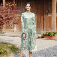 VOA Pure Aqua Green Color Long Sleeved Silk Jacquard Dress Female Leisure Loose Collar Dresses A6535