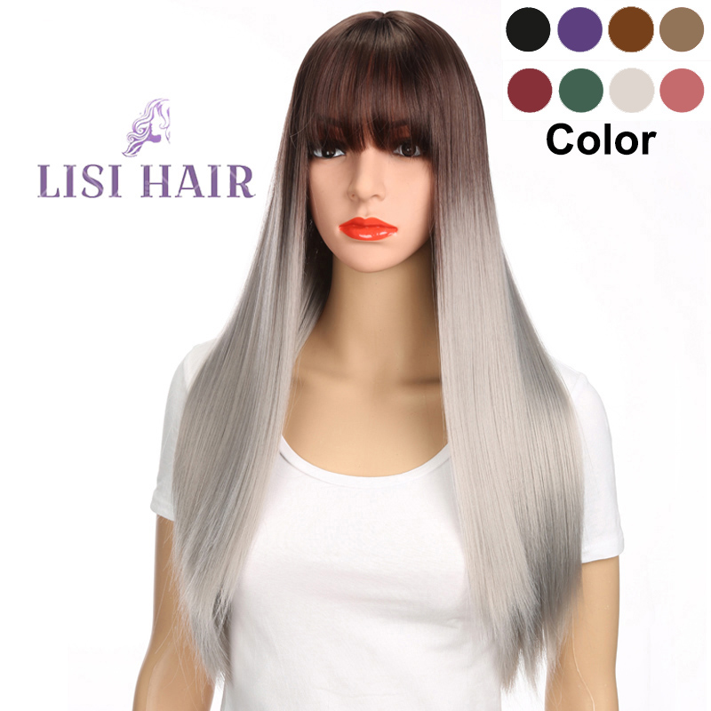 Hair-Wig Bangs Lisi-Hair Gray Brown Black White Purple Long Straight Ombre Woman High-Temperature-Fiber