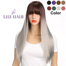 "LISI HAIR Long 26"" Bangs Straight Hair Wig Synthetic Wigs For Woman High Temperature Fiber Brown Ombre Gray Black Purple White(China)"
