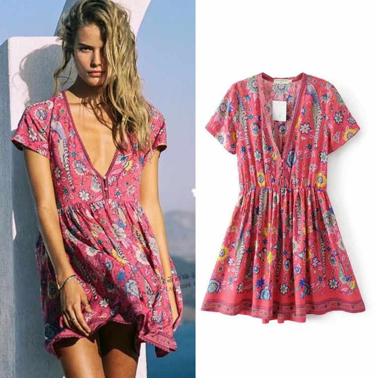 82c4b4df8ad0c Detail Feedback Questions about Boho dress RED birds floral print mini  dress V neck short sleeve women dresses 2019 new summer loose style bohemia  beach ...