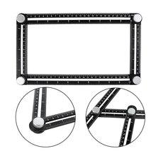 Binoax Black Aluminum Alloy Four Sided Ruler Measuring Instrument Template Angle Tool Mechanism Slides