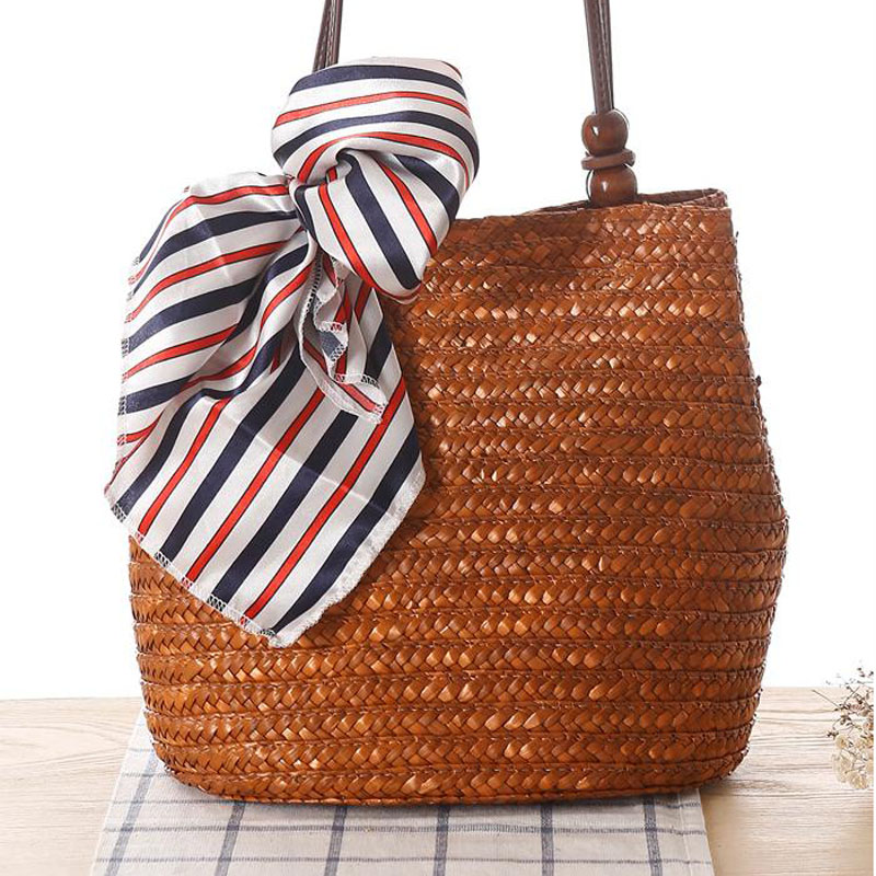 2016 Fashion Design Straw Knitting Women Shoulder Bags Beach Bags Women Scarf Tote Handbags For Ladies Summer Tote Bags T400 handmade flower appliques straw woven bulk bags trendy summer styles beach travel tote bags women beatiful handbags