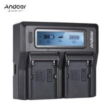 Andoer NP F970 Çift Kanallı dijital kamera pil şarj cihazı w/lcd ekran Sony NP F550/F750/F950/NP FM50/FM500H /QM71