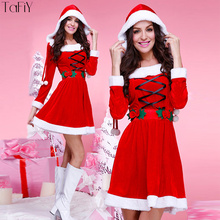 TaFiY Miss Santa Claus Women Dress Suit Xmas Roles Playing Long Sleeve  Costumes for bea57e590