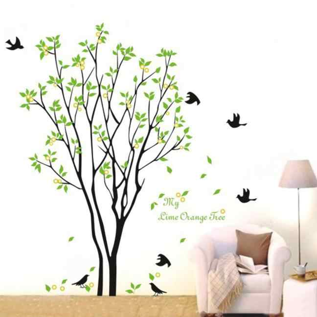 60cm*90cm Green tree birds wall Decals for Living Room Bedroom TV Wall Stickers Murals for kids rooms Pegatinas de pared     805