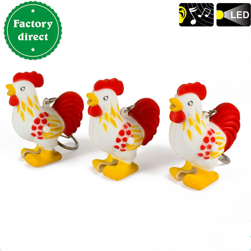 Cute LED Keychain with Sound Light Flashlight Motorycle Cock Chicken Key rings Car Key Ring Gift,Children gift toys wholesale sport car style 2 led white light flashlight keychain w sound effect red 4 x lr41