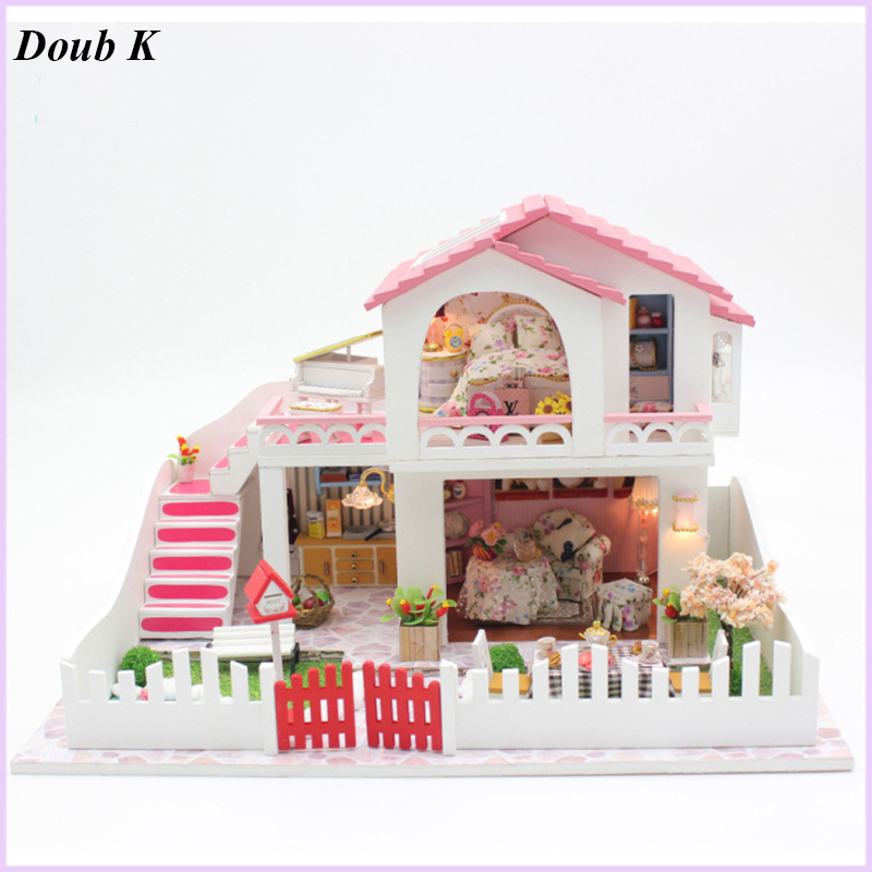 Doub k NEW DIY kawaii cute dollhouse Mini assembly model toys puzzle miniatures building Household doll house for girls gifts 97pcs diy wooden tractor mechanical transmission model assembly puzzle toy for ugears gift