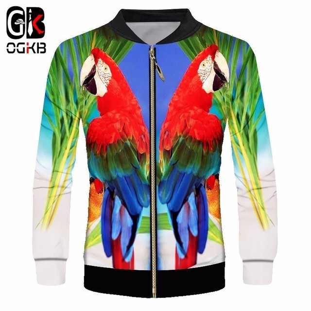 d63085bc481a OGKB Mans Sporty Casual 3d Printed Tropical Parrot Jacket Bird Coats  Streetwear Fashion Tracksuit Long Sleeve Outerwear Unisex