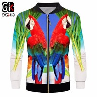 OGKB Mans Sporty Casual 3d Printed Tropical Parrot Jacket Bird Coats Streetwear Fashion Tracksuit Long Sleeve Outerwear Unisex
