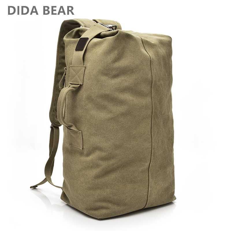 7a464d04588a 2018 большой ёмкость рюкзак Человек Дорожная сумка альпинизм мужской  Чемодан Обувь для мальчиков холст ведро сумки