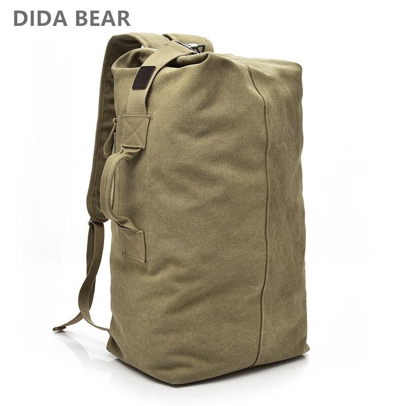 2018 de gran capacidad mochila hombre bolsa de viaje alpinismo mochila equipaje masculina muchachos lienzo Bucket bolsas de hombro mochilas