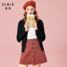 SEMIR вязаный кардиган, свитер для женщин, весна, простой однотонный прямой низ, одежда, свитер, модный кардиган для женщин