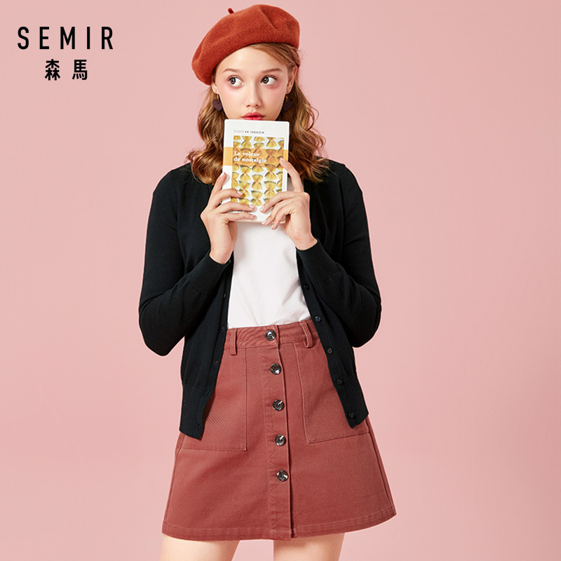 SEMIR Knitted Cardigan sweater Women 2019 Spring Simple Solid Straight Bottom Clothing Sweater Fashion Cardigan for Female シャツ ワンピ ロング 半袖