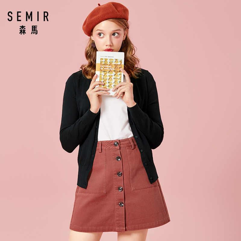 SEMIR вязаный женский свитер кардиган 2019 Весна простой сплошной прямой низ одежда свитер модный кардиган для женщин