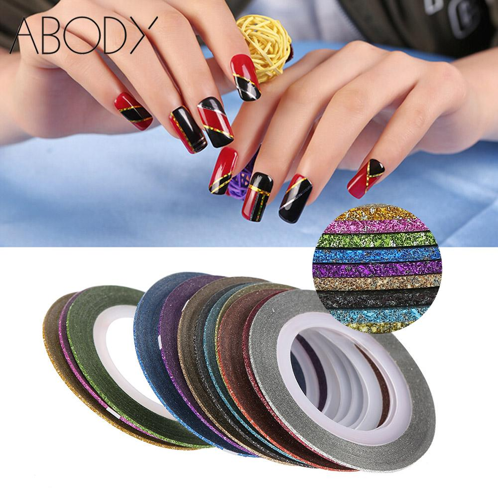 12Pcs/set Mixed Colors Scrub Nail Striping Tape Line for DIY 3D Nail Art Decoration Shiny Nail Sticker Decals Rolls Thin Tape