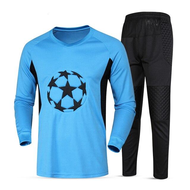 Jerseys Goleiro de Futebol Kit Esponja Protetor de Manga Comprida Terno  Homens Objetivo Jersey Uniformes de 326b9e2a55956