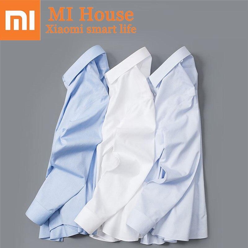 Xiaomi 90 весело для мужчин рубашка неглажка с длинным рукавом мягкий хлопок Slim Fit повседневное Мода бизнесмен анти-Жатая рубашка одежда