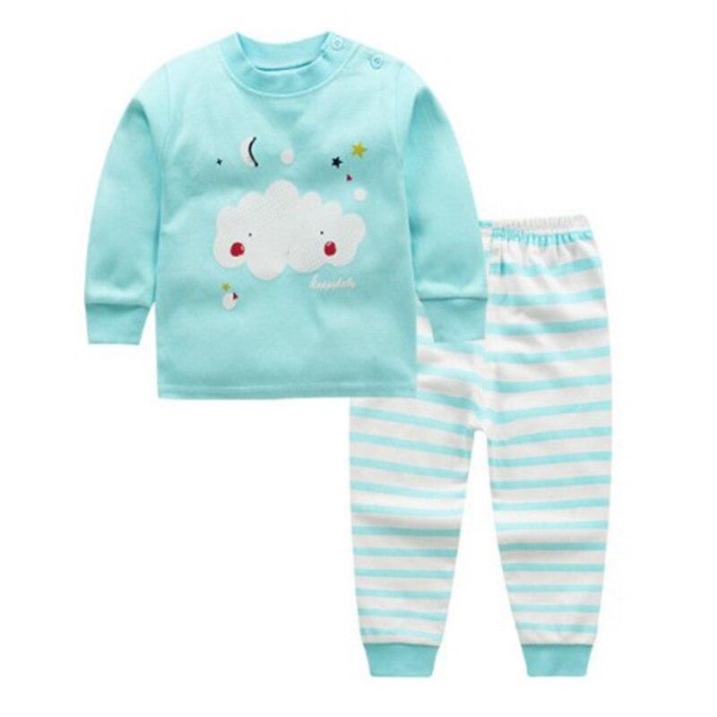 Детская одежда из 2 предметов для маленьких мальчиков и девочек, топ+ штаны, хлопковые пижамы для малышей, одежда для сна - Цвет: 5