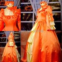 Orange Ruffels бантом Готический мультфильм косплей средневековые платье эпохи Возрождения платье королевы викторианской/Мария Антуанетта/Belle м
