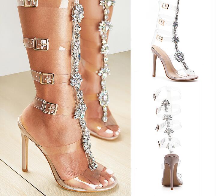 Vente chaude talons fins femme chaussures avec PVC sangles bout ouvert talon sandale mince ceinture cristal embelli bout pointu romain