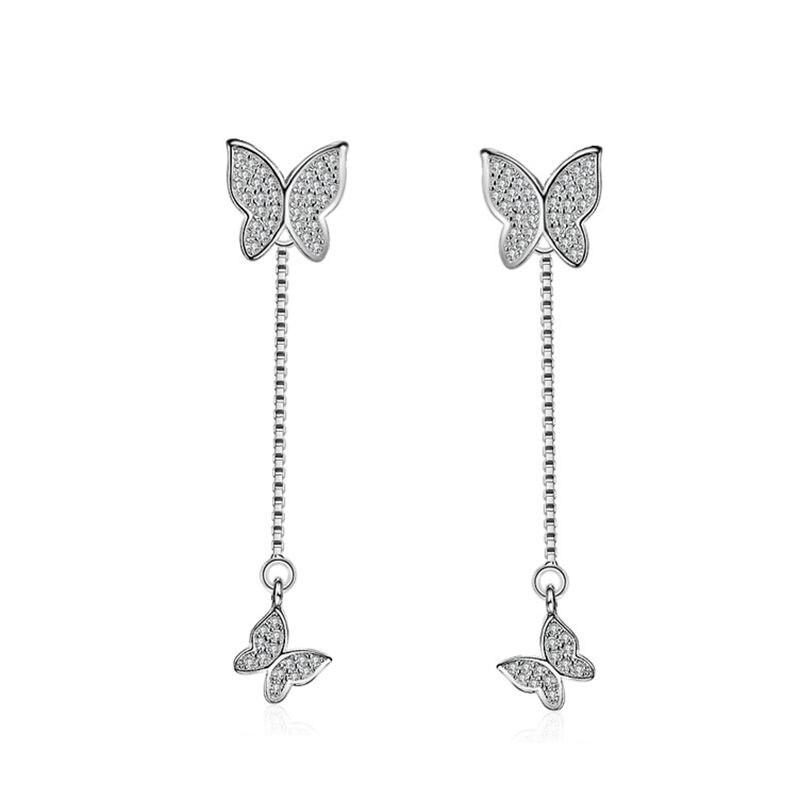Vente chaude De Mode Papillon Brillant Zircon Cadeau Femme 925 Dames d'argent 'Boucles D'oreille Bijoux En Gros Pas Cher fille