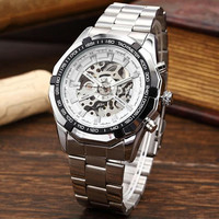 Fashion New 2015 Mens Watches Stainless Mechanical Watch Steel Hand Winding Skeleton Automatic And Sport Wrist
