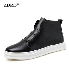 2016 New Brand Fashion Ankle Boots Men Autumn Spring Shoes Men Wedge Boots Men PU Leather Boots Solid Zip Men Casual Shoe