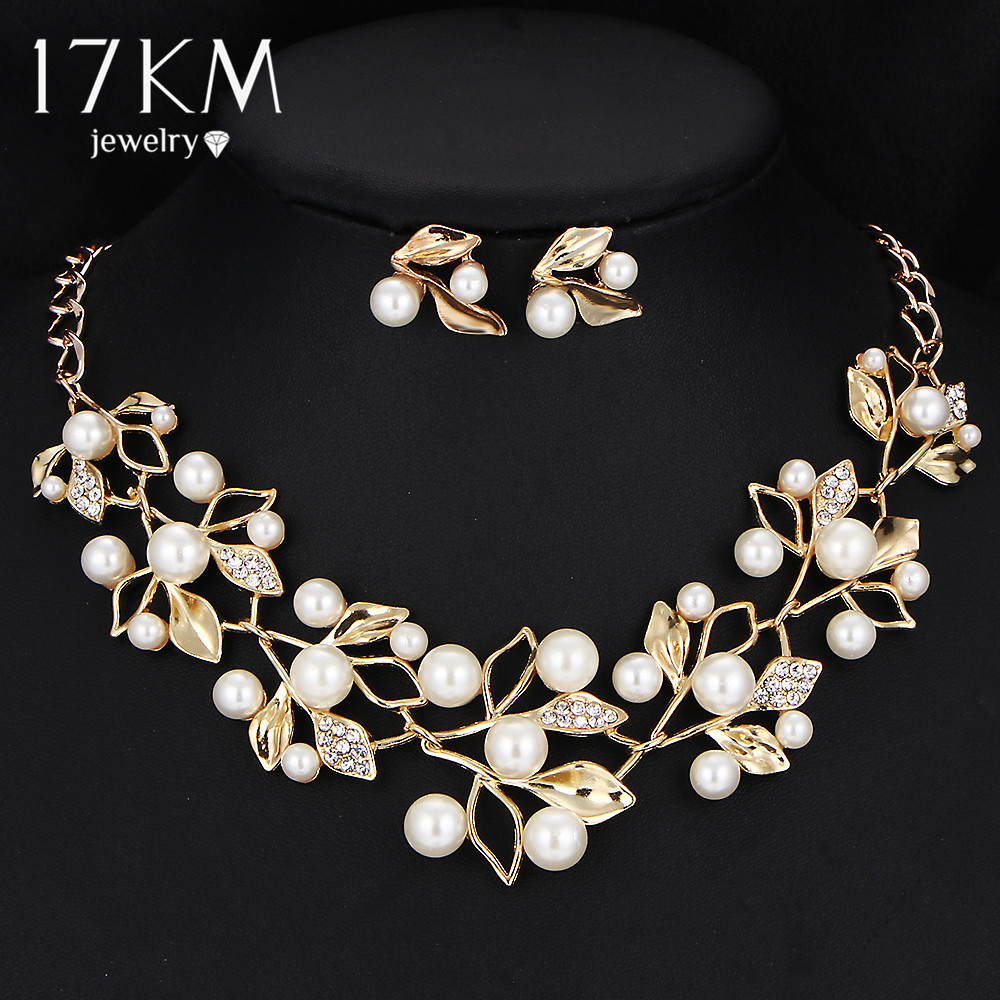 buy 17km gold color simulated pearl jewelry set for women crystal flower. Black Bedroom Furniture Sets. Home Design Ideas