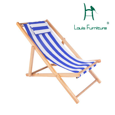 Louis Fashion Beach Chair Wooden Chairs Outdoor Lazy Chaise Lounge Oxford Canvas Cloth Four Adjusting Heights