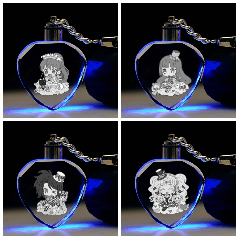 Action-Figures Toy-Chain Key-Collection Gifts Cartoon-Light Anime LED Heart-Shaped IVYYE